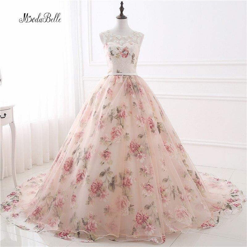 Romantique Floral Longues Robes De Bal robe de Bal Applique Galajurken Impression Pas Cher De Bal Robe Formelle Robes de Soirée Robes de Gala