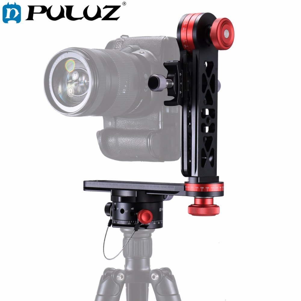 PULUZ 720 Degree Camera Panoramic Aluminum Alloy Tripod Ball Head kits &3/8 Quick Release Plate&1/4''Screw Fixed Plate for DSLR