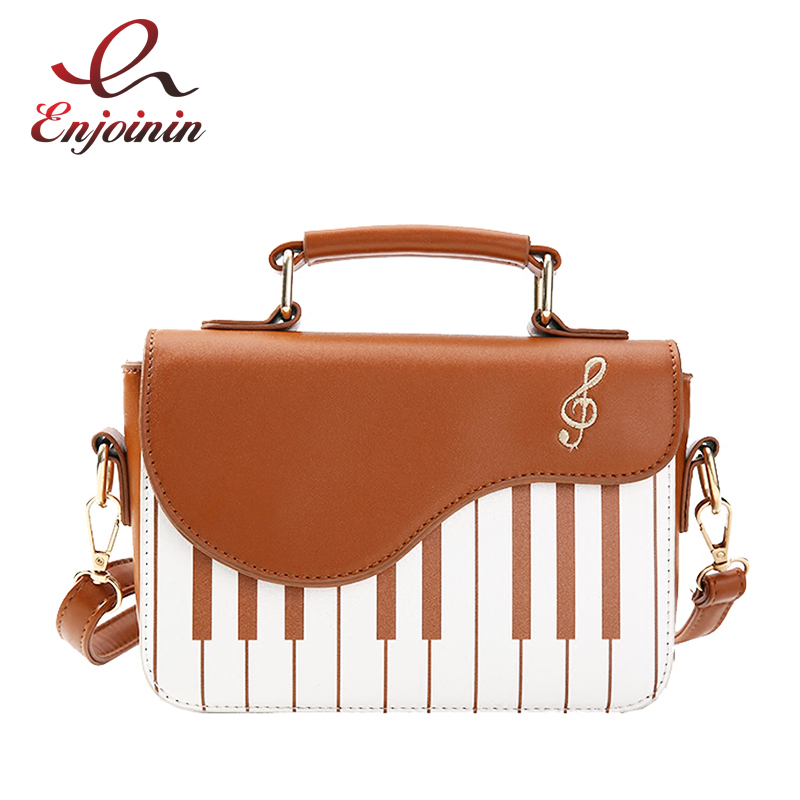 Cute Piano Pattern Fashion Pu Leather Casual Ladies Handbag Shoulder Bag Crossbody Messenger Bag Pouch Totes Women's Flap