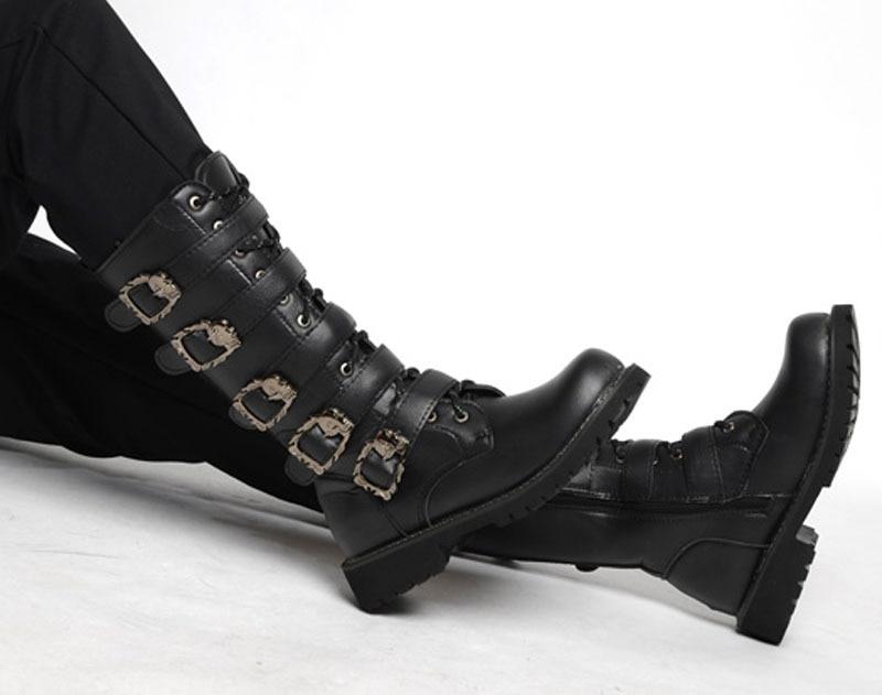 Cuero La Moda Punk Botas Los Trabajo Hombre Arranque Pu E Zapatos Encaje Hombres Otoño Invierno De Motocicleta Negro 78dxYxq