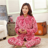 New Autumn/winter flannel thickening women pajamas sets sleepwear Long sleeves Turn down Collar Indoor Clothing free shipping