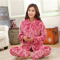 New Autumn/winter flannel thickening women pajamas sets sleepwear Long sleeves Turn-down Collar Indoor Clothing free shipping