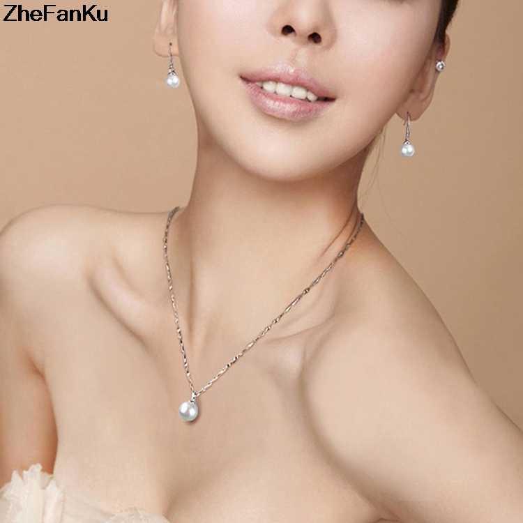 Hàn Quốc Màu Bạc Trang Sức Thời Trang Trắng Đen Giả Ngọc Trai Mặt Dây Chuyền Vòng Cổ Cho Nữ