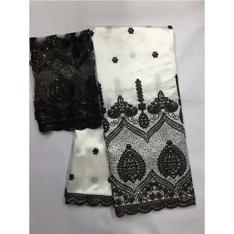 Noir et blanc 5 yards tissu africain George avec 2yards indien soie brute George emballages nigérians dentelle tissus ensemble