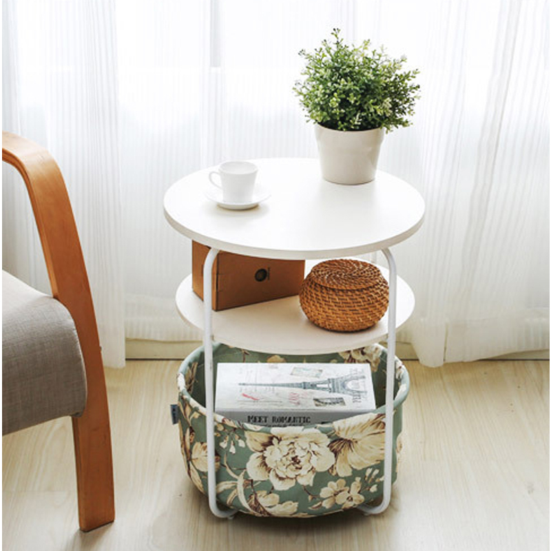 Small Round Coffee Table End Side With Shelf And Storage Basket Office Home Furniture Multiple Color Options 3layers