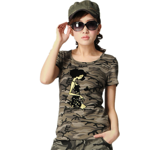 669319faa8 US $18.61 15% OFF|2018 Summer Women's Military Camouflage Embroidery t  shirt Clothing Casual Stretch Cotton Army Camo Tops tshirt Female-in  T-Shirts ...