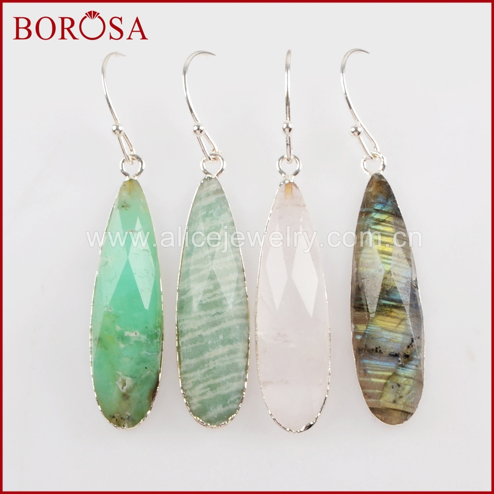 BOROSA 5Pairs Silver Color Teardrop White Quartz Crystal Labradorite Faceted Charms Dangle Earrings Druzy Women Jewelry S1524-E