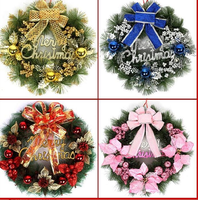 Guirnaldas De Navidad Imagenes.11 77 2017 30 Cm Deluxe Feliz Navidad Agujas De Pino Guirnaldas Navidad Hermosa Guirnaldas Puerta Arbol Ornamento De La Decoracion En Pegatinas Y