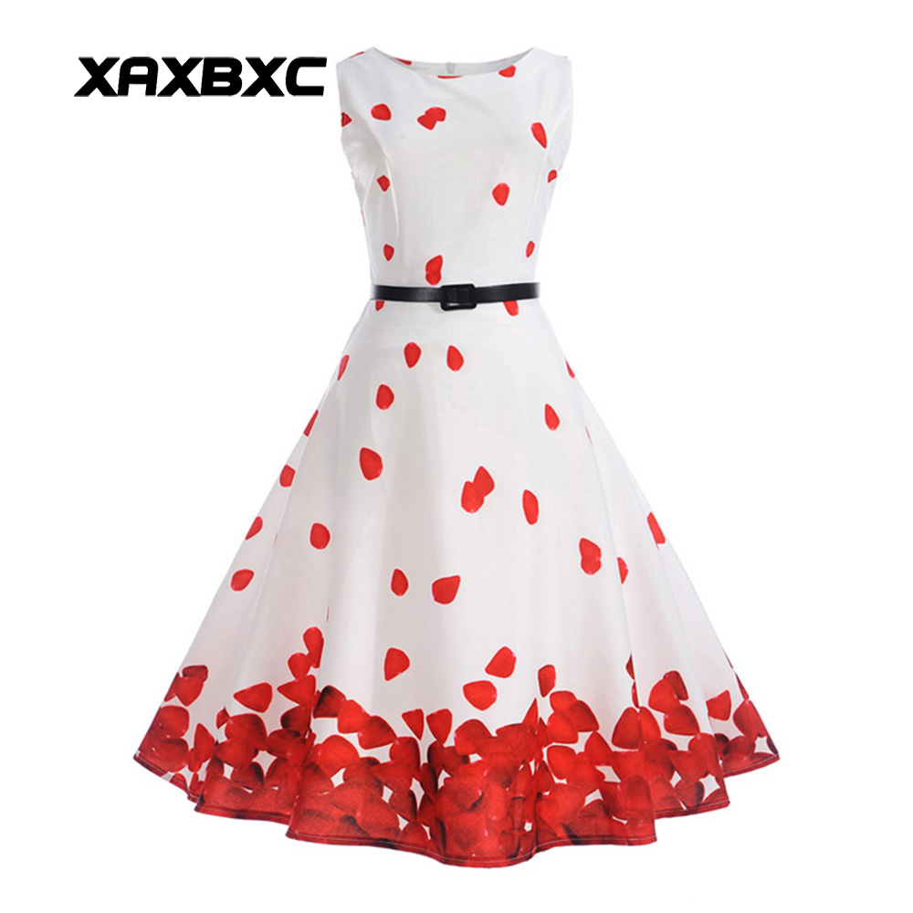XAXBXC 2017 Summer Vestido Rose Petal New York City Prints Sashes 1950s Vintage Swing Sleeveless Women Dress Evening Party