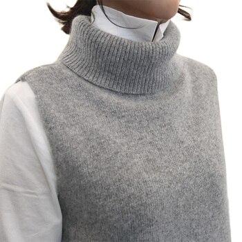 Women's Knitted Angora Rabbit Cashmere Wool Turtleneck Vest Side Slit Winter Female Wool Sweater Sleeveless Waistcoat New Vogue