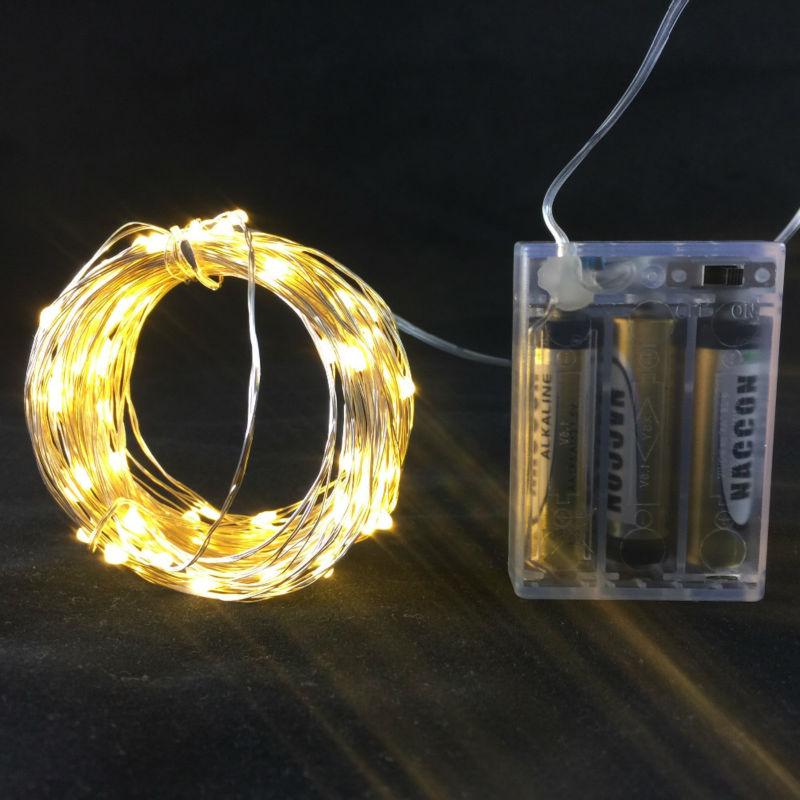 10M 33ft 100 led 3AA luces de cadena de alambre de cobre al aire libre con pilas para el festival de navidad decoración del banquete de boda