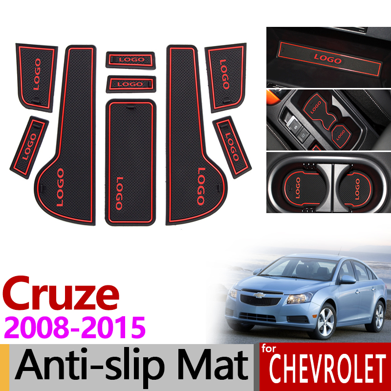 for Chevrolet Cruze 2008~2015 9pcs Anti-Slip Rubber Gate Slot Cup Mat Holden J300 2009 2010 2011 2012 2013 Accessories Stickers