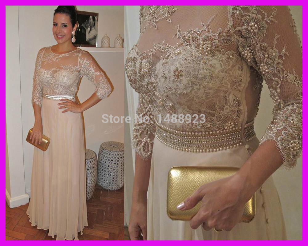 Beige Chiffon Bridesmaid Dress 2017: Latest Design Pearls Lace Evening Gowns 3/4 Sleeve