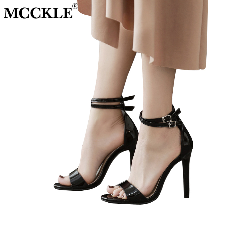 MCCKLE Women 2018 Spring Office & Career Thin HIgh Heels Ladies Ankle Strap Buckle Cover Heel Sandals Fashion Woman Mature Shoes