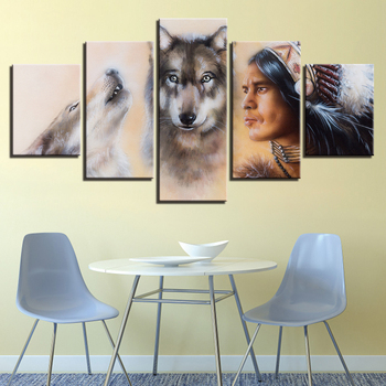 JIE DO ART Poster Wall Art Modular Pictures 5 Pieces American Indian And Wolves Paintings Living Room Home Decor Framework картины в спальню черно белые