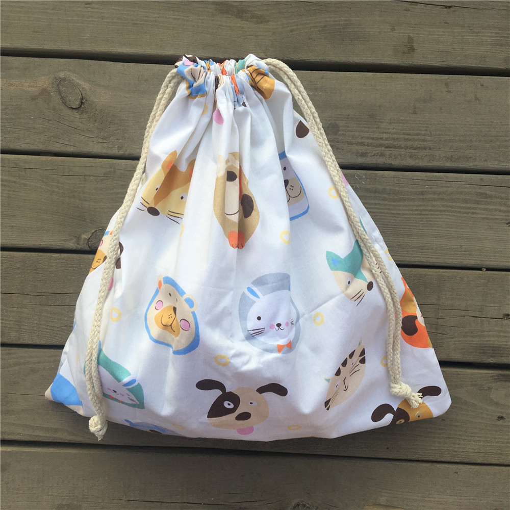 1pc Cotton Twill Drawstring Travel Organized Sorted Bag Party Gift Bag Animal Head White Base YL9503