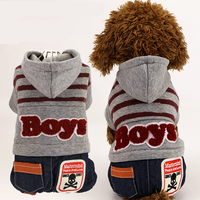 Winter Warm Dog Clothes Thick Jacket Small Dogs Cartoon Hoodie Costume Pet Cat Puppy Jean Coat