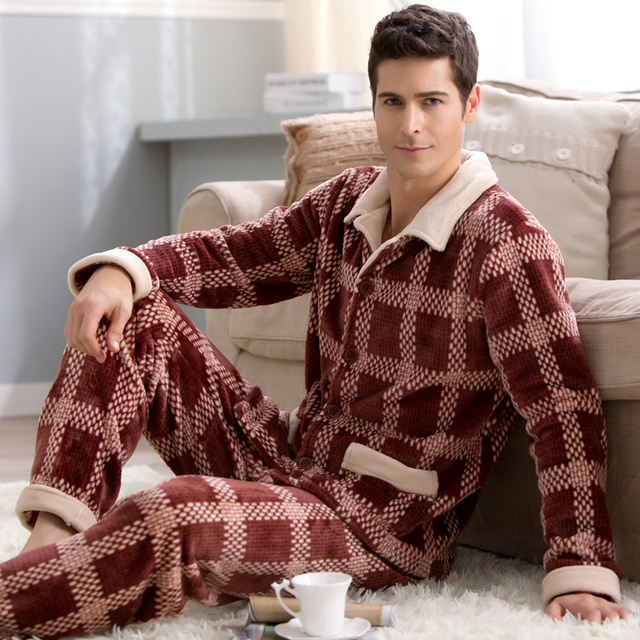 Men pajamas winter 2017 autumn male sleepwear thick long-sleeve flannel lounge set turn-down collar coral fashion
