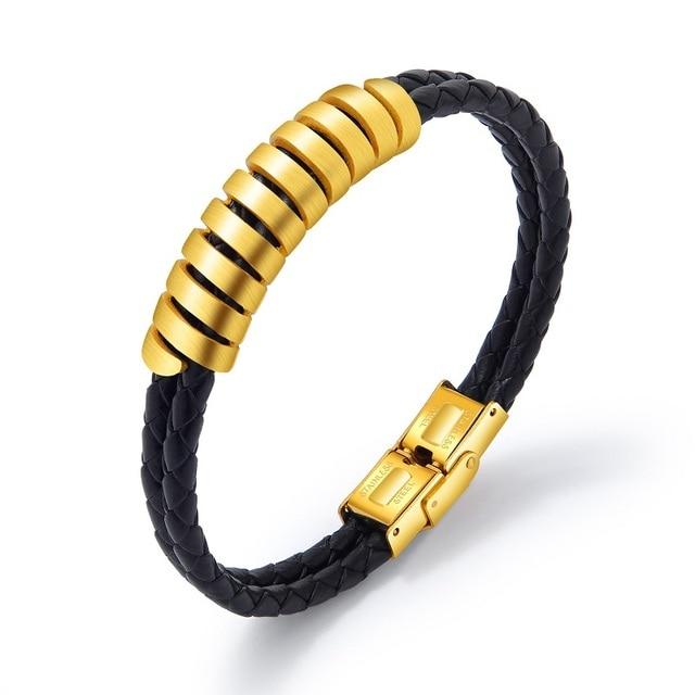 Купить модные ювелирные изделия золотые кожаные браслеты из нержавеющей картинки