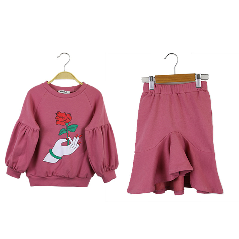 Girls Clothing Set New Spring Autumn Cotton Kid Clothing Suit for Girl Long Sleeve Flower pattern Sweatshirt + Skirt 2Pcs CA142 2018 girl summer sets new children s skirt 2pcs college chiffon clothing set white half sleeve blouse black long skirts suits