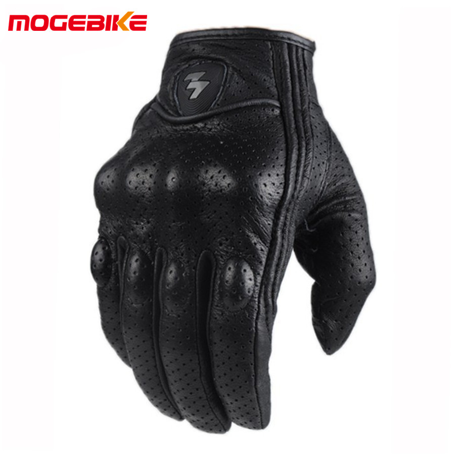 Retro Perforated Leather Motorcycle Gloves <font><b>Cycling</b></font> Moto Motorbike Protective Gears Motocross Glove winter man female off road