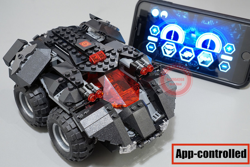 The New RC Superheroes Controlled By Batmobile App For  Batman Technique Blocks Bricks 76112 Christmas Gift Boy Toys