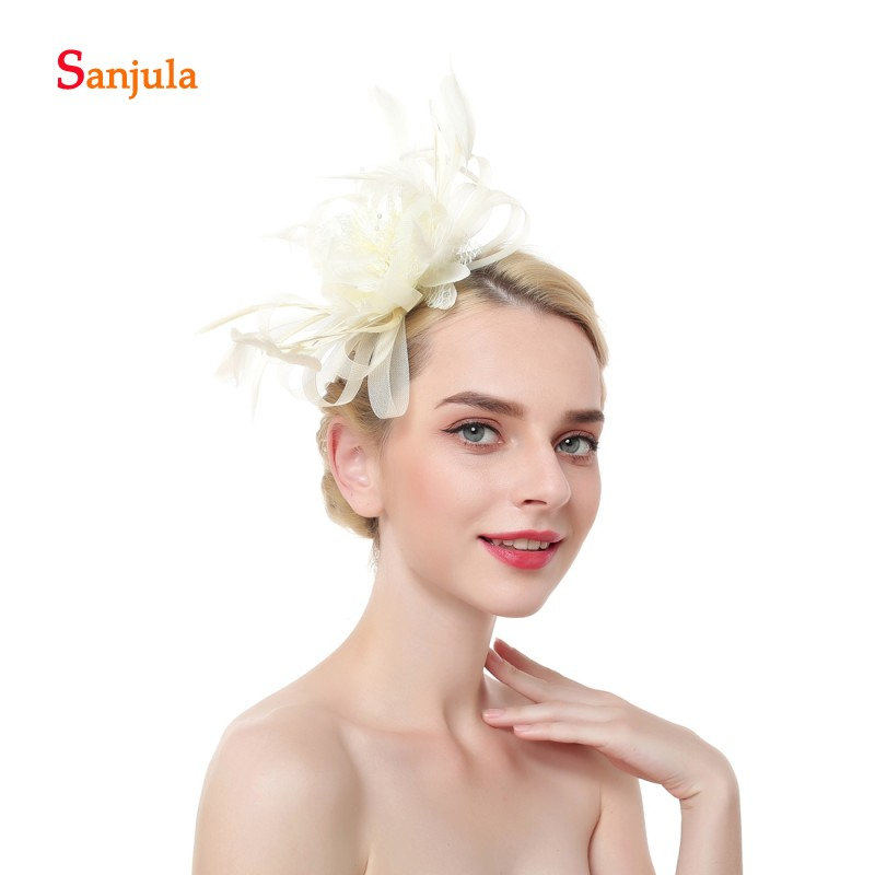 c998f50888dd9 Feathers Tulle Beaded Wedding Hats 2019 Flower Shape Wedding Accessories  Girls Pageant Party Hats pamelas sombreros bodas H168