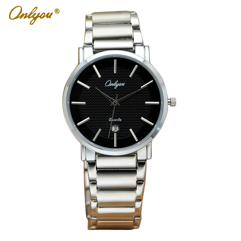 ФОТО Onlyou Brand Luxury Watch Men Women Fashion Steel Quartz Watch Wristwatches Ladies Dress Watch Male Female Clock Watch 8890