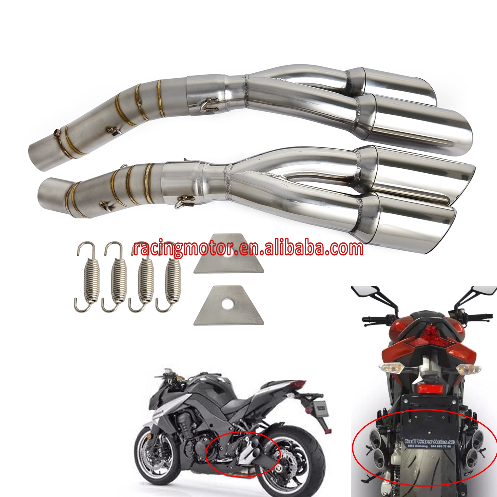 NICECNC Motorcycle Exhaust Pipe for Kawasaki Z1000 2010 2011 2012 2013 2014 2015 2016 Z 1000 Muffler & Mid Pipe Exhaust System цена