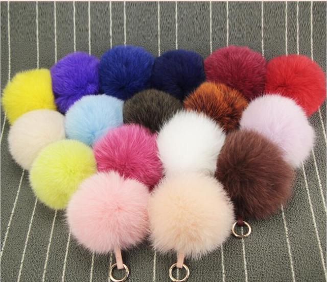 new15CM Fashion Luxury Bag Charm White Fox Fur Pom Poms with Genuine Leather Tag Colorful Lovely Fur Balls Fox Fur Keychain 15CM