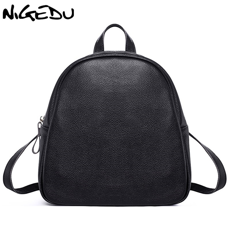 NIGEDU Genuine Leather Backpacks Women Cowhide kanken Fashion School Backpack For Girls Mochila Brand Designer Shoulder Bags