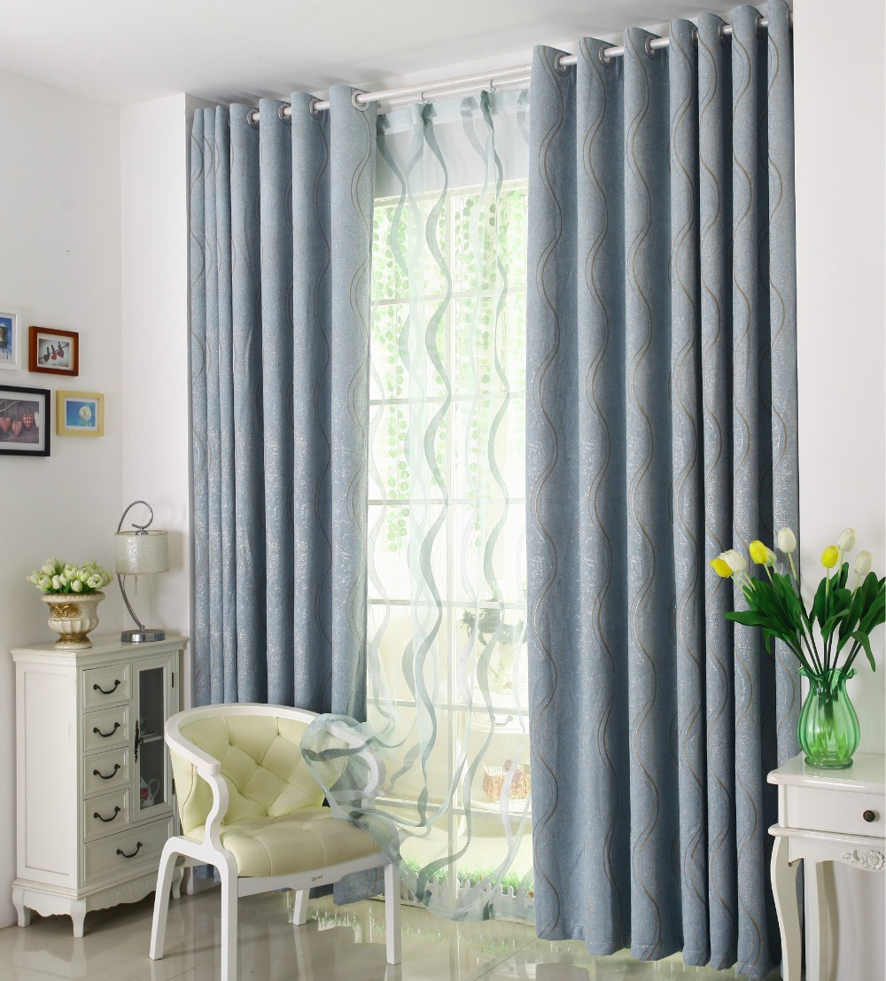 Luxury High Quality Modern Chenille Curtain Blinds Shade Half Blackout For Living Room Cusom