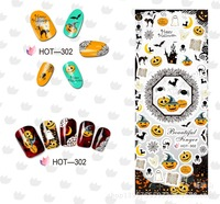 New 6 Sheets Halloween Water Transfer Decal Stickers Nail Art Tips All Hallow's Day Decoration Ghost Bat Skull Witch Death
