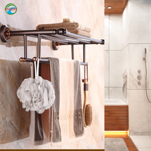Promotional Retail round Style rose golden Shelves Towel Rack with Double Storage Hanging Organizer