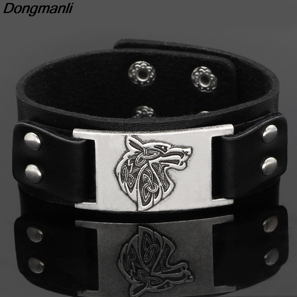 Jewelry & Accessories P227 Dongmanli 1 Piece Mens Fashion Handmade Nordic Viking Sword Leather Bracelets Bracelets
