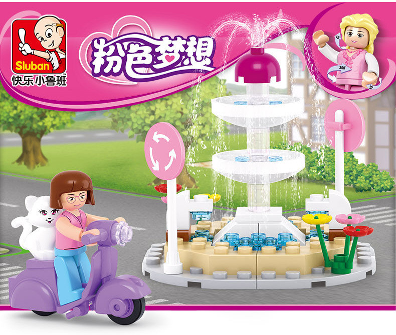 Sluban M38-B-0519 Pink Dream Series Girl Motorcycle Pet Cat  Fountain Building Block Sets Compatible With Legoe sluban pink dream girls