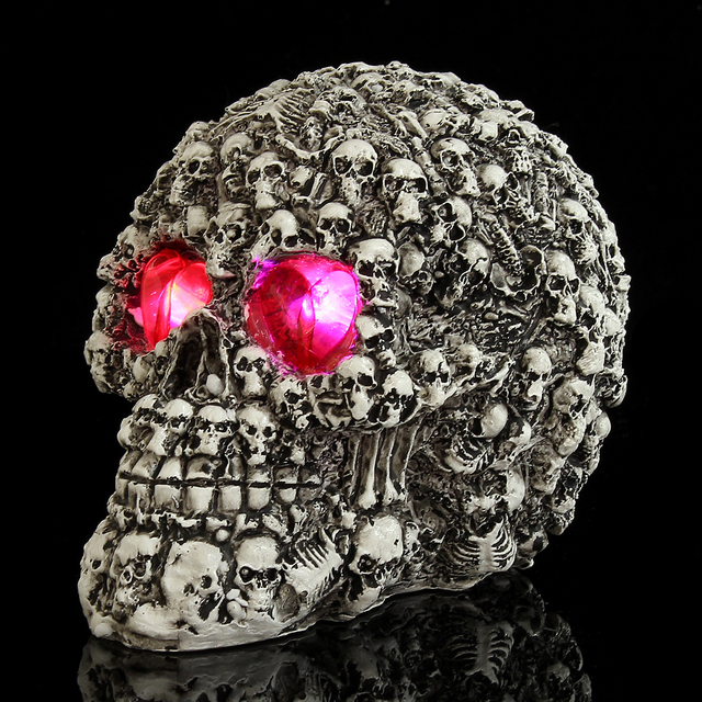 Gothic Red Glow in the Dark Skulls Head Skeleton Bones Shaped for Halloween Party Decorations Trick Statue Figurine Home Decor