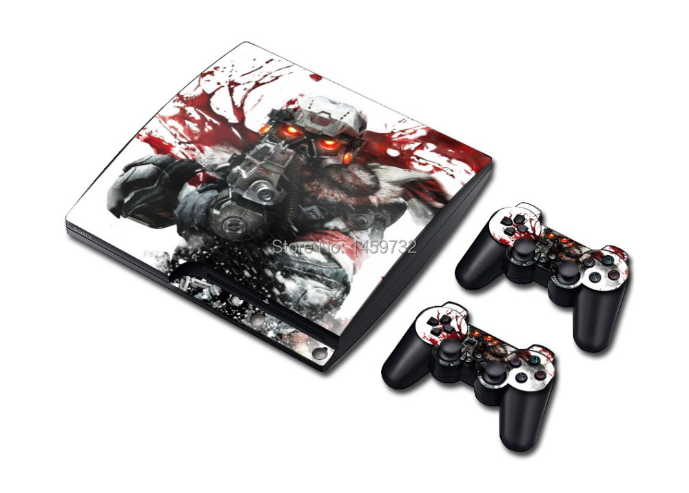 Cool Killzone Vinyl Decal PS 3 Slim Sticker PS 3 Skin for PlayStation 3 PS3 Slim Console+2 Pcs Free For PS3 Controller Covers