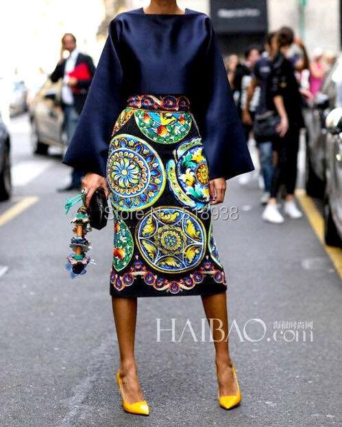Nova chegada 2014 mulheres porcelana moda vintage padrões de impressão sexy bainha meados de bezerro saia + quadrado collar tops blusa