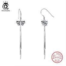 цена на ORSA JEWELS 925 Sterling Silver Drop Earrings For Women Romantic Butterfly Dangle Earings Fine Silver Jewelry Party Gift OSE66