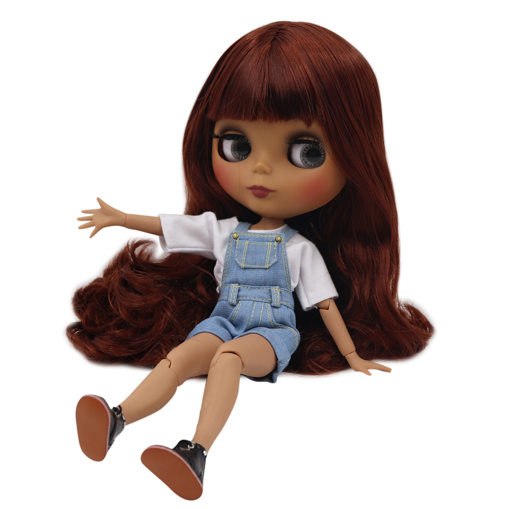 ICY Fortune Days factory blyth doll dark skin joint body New matte face Cute reddish brown