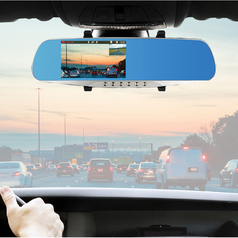 E ACE A16 Car Dvr Rearview Mirror Video Recorder 5 Led Lights Dash Cam DVRs With Rear View Camera Two Camera registrar Dash cam in DVR Dash Camera from Automobiles Motorcycles