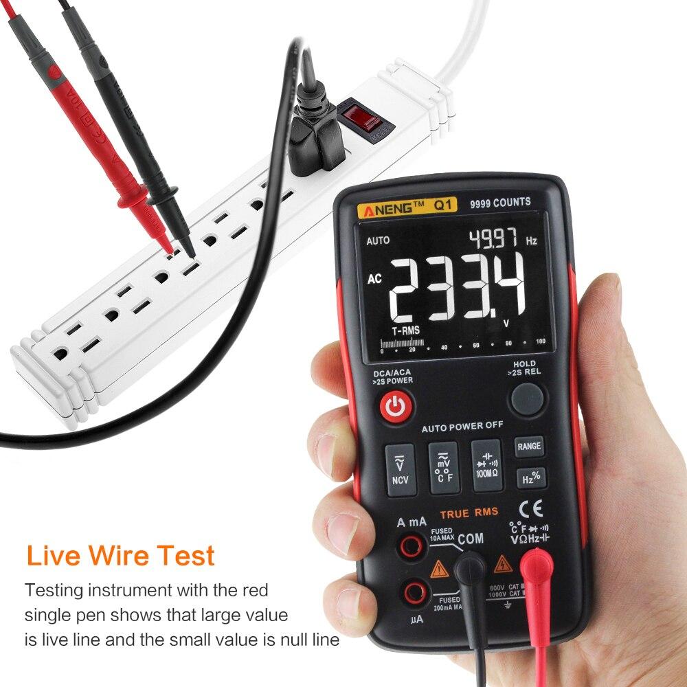 Q1 Auto Multimètre Numérique 9999 Compter Vrai-RMS AC DC Tension courant Ampèremètre Courant Ohm Transistor Testeur puissance ohm mètre