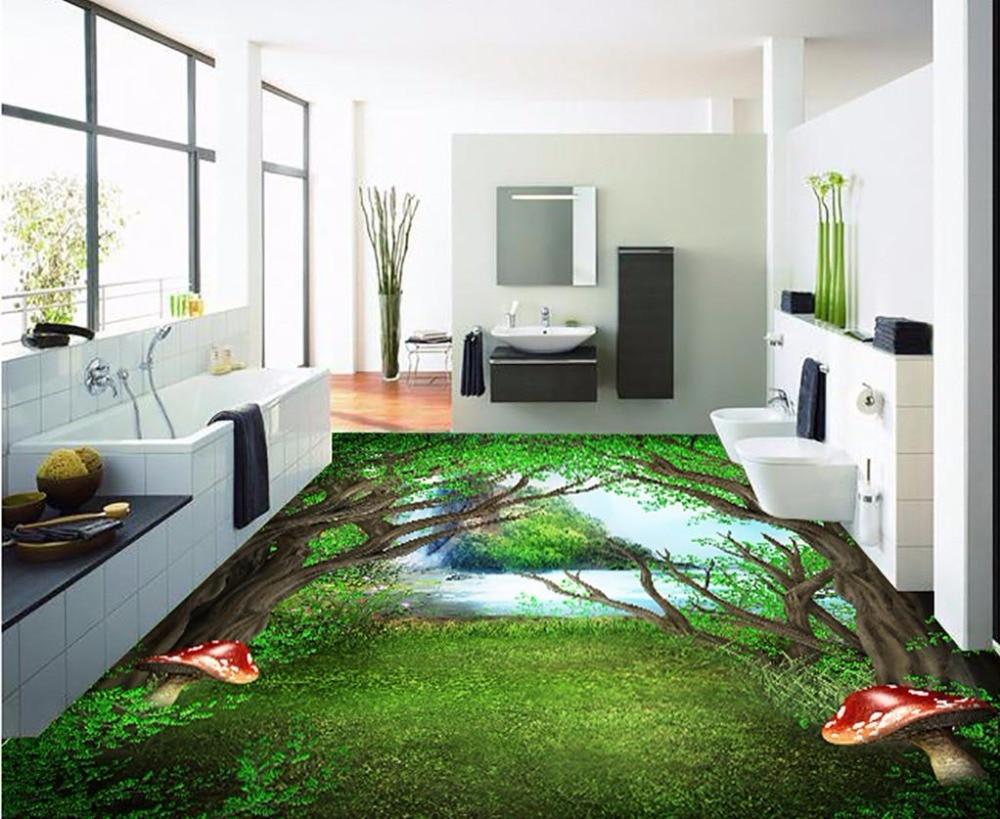 Painted forest 3d floor painting waterproof wallpaper for - Waterproof floor paint for bathrooms ...