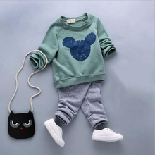 New arrival autumn baby girl clothes sets 2pcs long sleeve pullover cartoon shirt+pants newborn baby boy clothing suits