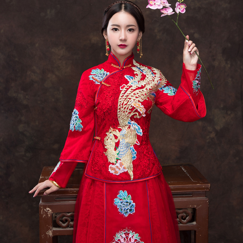 Red Chinese Phoenix Embroidery Marriage Cheongsam Floral Elegant Asian Bridal Wedding Dress Suit Lace Sexy Qipao Evening Gowns In Cheongsams From Novelty