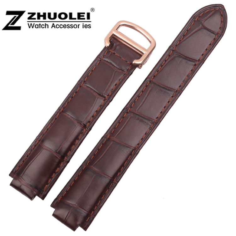 18mm NEW High quality Brown Genuine Alligator Croco Leather Strap Watch Band For Brand BALLON BULE Free Shipping high quality 17mm 19mm 23mm waterproof genuine leather watch strap band for swatch croco pattern black brown white