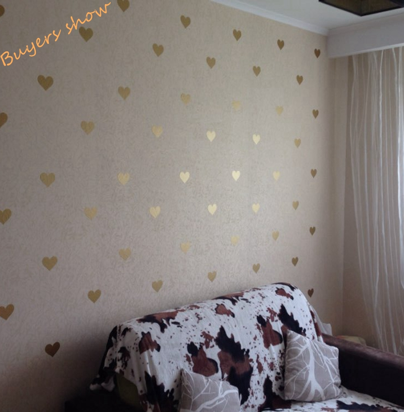 Free Shipping Metallic Gold Wall Stickers Heart Shaped Pattern Vinyl Wall  Decals Nursery Art Decor Little Hearts Stickers In Wall Stickers From Home  ...