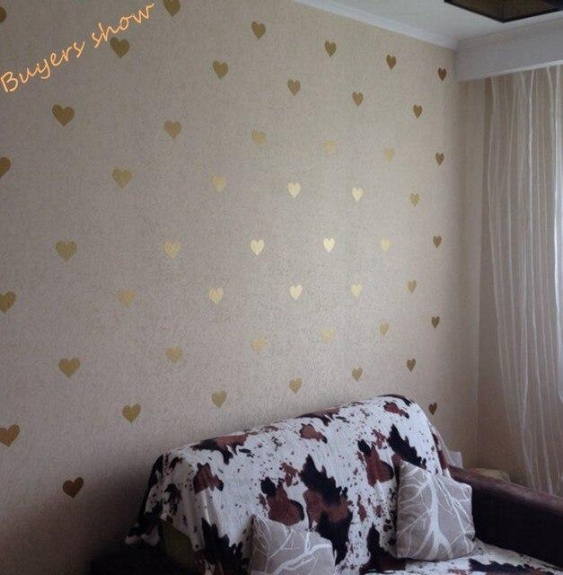 Good Free Shipping Metallic Gold Wall Stickers Heart Shaped Pattern Vinyl Wall  Decals Nursery Art Decor Little Hearts Stickers