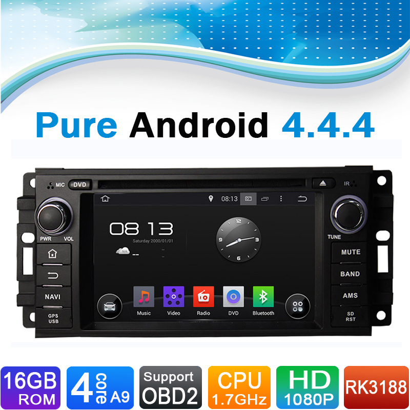 Vehicle Stereo Gps Navigation For Chrysler 300c Jeep Dodge: Pure Android 4.4.4 Car GPS Navigator DVD Radio For Jeep